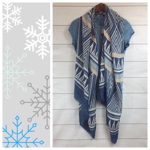 Tribal Print Scarf Boho Geometric Blue
