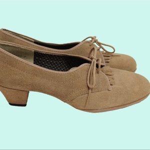 Vintage 70s FlDaniel Green Suede Oxford Heels