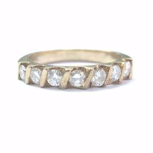 Jewelry - Fine Round Cut Diamond 7-Stone Bar Setting Band Ri