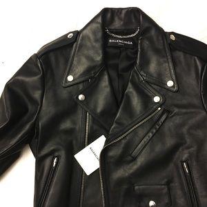 Balenciaga black Leather Moto Jacket