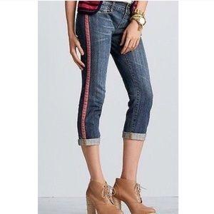NWT CAbi Johnny Tux Crop Striped Pans Jeans Denim