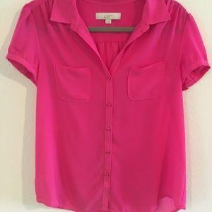 Hot pink chiffon medium short sleeve blouse