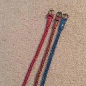 Set of 3 braided skinny belts