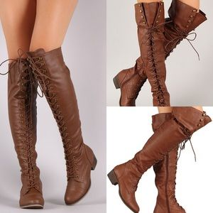 Breckelle's Alabama Over-the-knee Boots in Tan