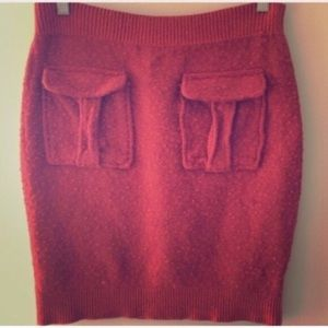 Moth Textured Wool Blend Skirt
