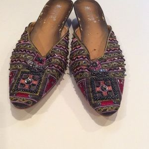 Beaded embroidered shoes