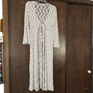 CAbi long lace cardigan