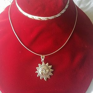 New Sterling silver sun necklace
