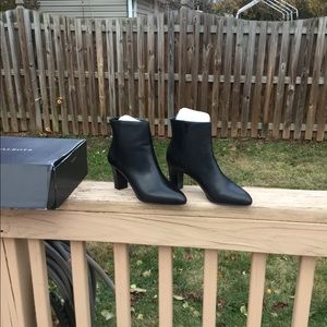 NWT Talbots Fun Black Leather Ankle Boots 10M