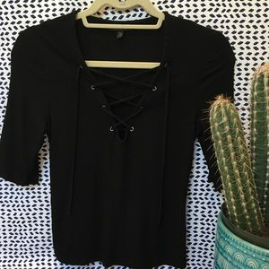Black elbow length top with ties detail