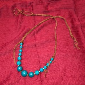 Fossil turquoise and leather necklace