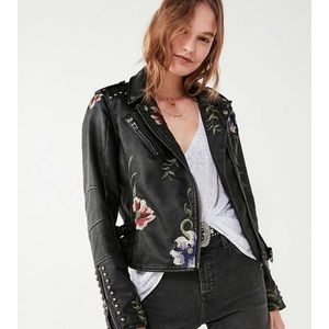 Blank NYC embroidered vegan leather jacket