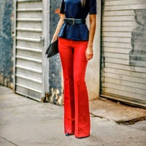 Alice and Olivia red flare pants.
