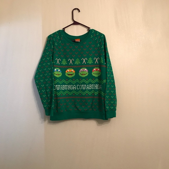 nickelodeon ninja turtle ugly christmas sweater l