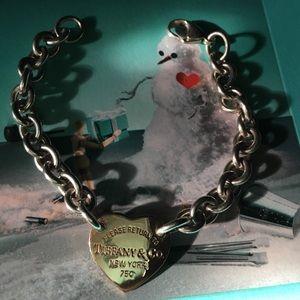 Rare Tiffany & co 18k heart with silver bracelet