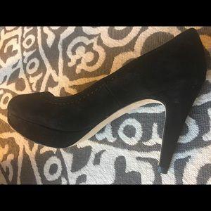 Black suede peep-toe pumps, 3 inch heels. Size 4M.