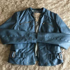 Arden faux leather blue jacket