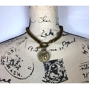 H&M Antique Gold Tone Toggle Coin Necklace