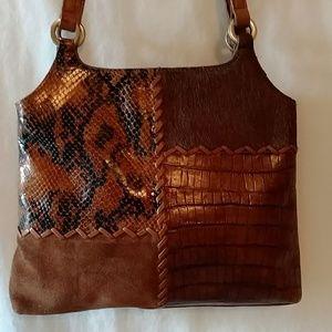 Vintage Fossil Patchwork Leather Shoulder Bag