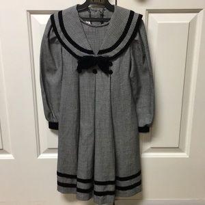 Girls Bonnie Jean Black Houndstooth Dress - Size 6