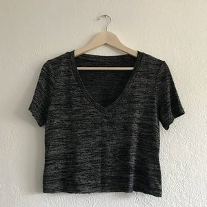 Charcoal v-neck copped t-Shirt