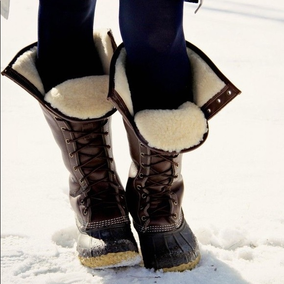 Ll Bean Tall Fur Shearling Duck Boots