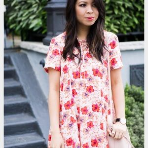 Lace front floral swing dress