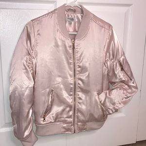 Charlotte Russe Light Pink Silk Bomber Jacket 😍💖