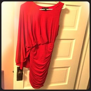 One-sleeve red mini dress