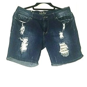 Rip Patched Jean Shorts
