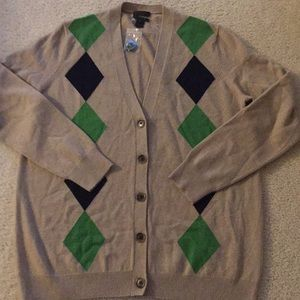 J Crew Collection Cashmere argyle button sweater