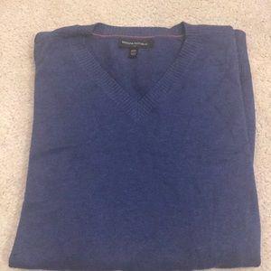 Male Blue V-neck Sweater