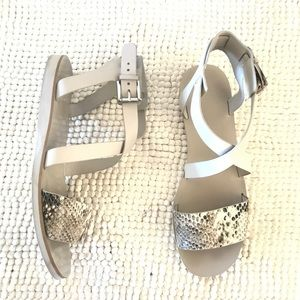 Marc Fisher light gray snakeskin printed sandals