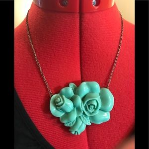 Lovely Jadeite Look Roses Necklace
