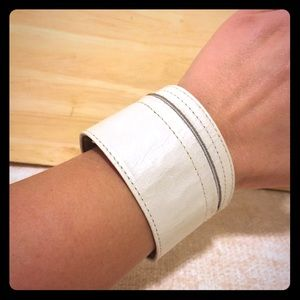 Jewelry - Pearly Off-White Faux Leather Wrist Bracelet