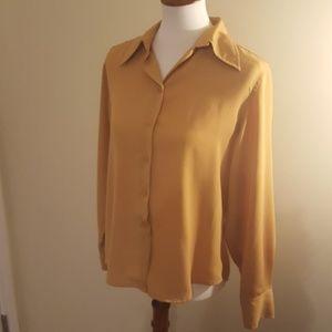 Vintage Mustard Button Down Blouse