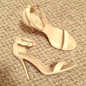 Nude heels with ankle strap