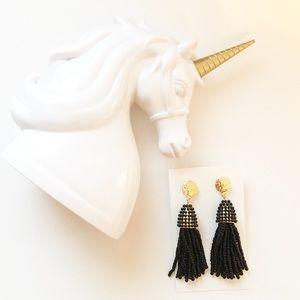 Jewelry - Beautiful Black fringe beaded tassel earrings