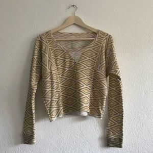 Patterned thermal knit cropped sweater
