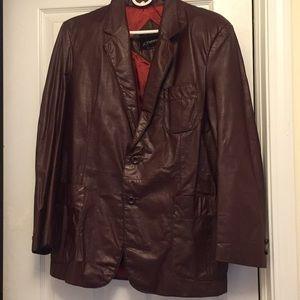 Men's vintage wine colored leather jacket