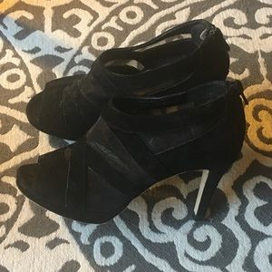 Black suede and mesh ankle heels size 4.5M.