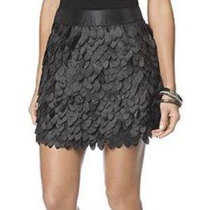 Black petal shimmer mini skirt
