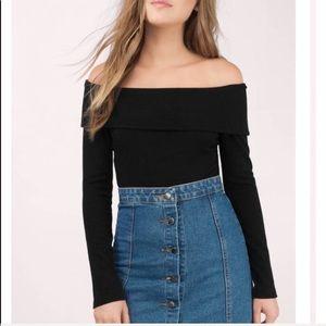 Off the shoulder black bodysuit
