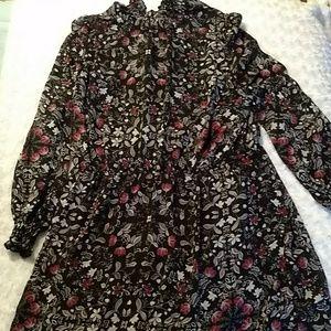 NWOT Black long sleeve sheer dress