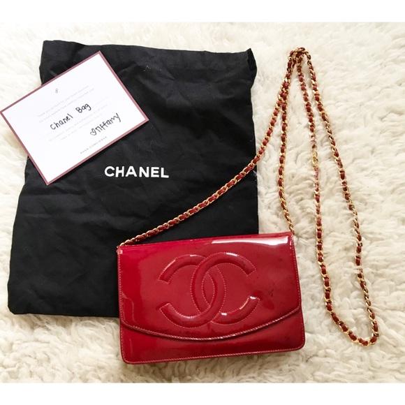 06d1ac5578cb5c CHANEL Handbags - Authentic CHANEL WOC Patent Leather Cross Body Bag