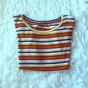 Vintage Striped Crop Top