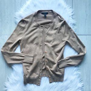 J. Crew Cotton Jackie Cardigan Sweater in Tan XS