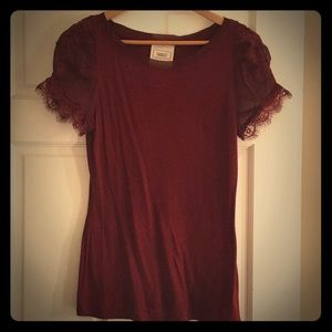Red sheer capped sleeve shirt
