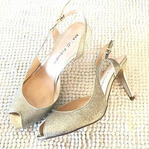 Marc Fisher gold glitter peep toe slingback heels