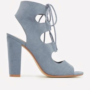 BNWT Blue Faux-Suede Heeled Sandals
